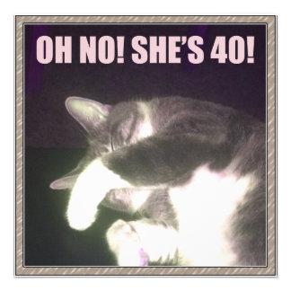 Aniversário de 40 anos engraçado gato convite personalizados