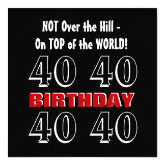 Aniversário de 40 anos engraçado não sobre o convite quadrado 13.35 x 13.35cm