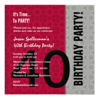 Aniversário de 40 anos engraçado não sobre o monte convite personalizado