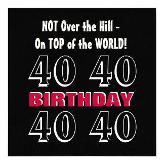 Aniversário de 40 anos engraçado não sobre o monte convite quadrado 13.35 x 13.35cm