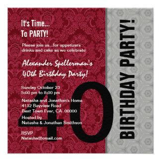 Aniversário de 40 anos engraçado não sobre o verme convites personalizados