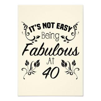 Aniversário de 40 anos fabuloso convite 12.7 x 17.78cm