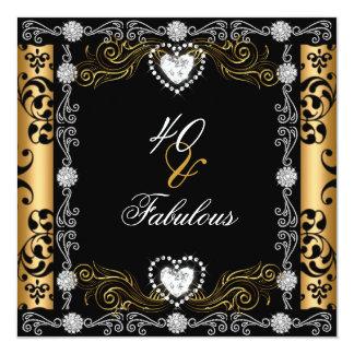 Aniversário de 40 anos fabuloso da prata do preto convite quadrado 13.35 x 13.35cm