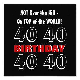 Aniversário de 40 anos G300 engraçado preto de pra Convites Personalizado