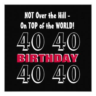 Aniversário de 40 anos G308 engraçado preto de pra Convites Personalizados