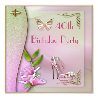 Aniversário de 40 anos glamoroso dos calçados convite personalizado