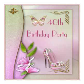Aniversário de 40 anos glamoroso dos calçados convite quadrado 13.35 x 13.35cm