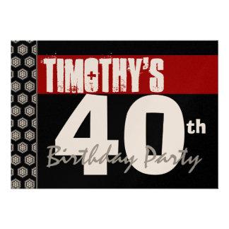 Aniversário de 40 anos moderno para ele preto bran convites personalizados