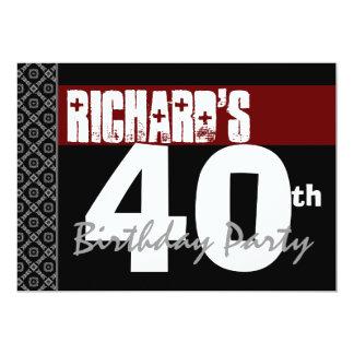 Aniversário de 40 anos moderno para ele preto convite 12.7 x 17.78cm
