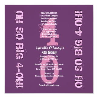 Aniversário de 40 anos oh 4 tão grandes oh roxos e convite quadrado 13.35 x 13.35cm