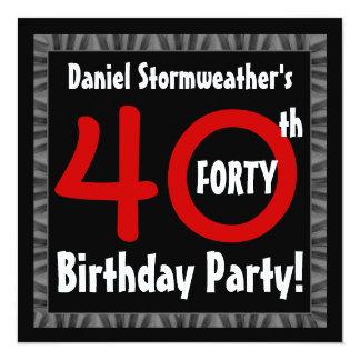 Aniversário de 40 anos para ele modelo moderno convite quadrado 13.35 x 13.35cm