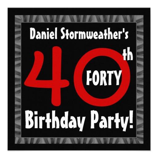 Aniversário de 40 anos para ele modelo moderno W40 Convites Personalizado