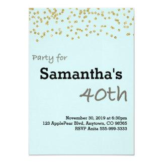 Aniversário de 40 anos personalizado em cores convite 12.7 x 17.78cm