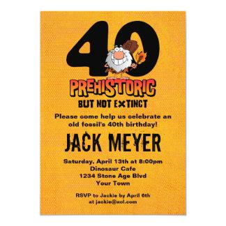 Aniversário de 40 anos pré-histórico convite personalizados