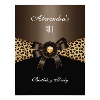 Aniversário de 40 anos preto de Brown do café do l Convite Personalizados