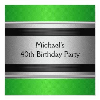 Aniversário de 40 anos preto & de prata verde convite quadrado 13.35 x 13.35cm