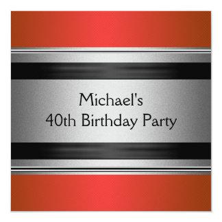 Aniversário de 40 anos preto & de prata vermelho convite quadrado 13.35 x 13.35cm