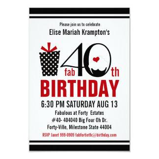 Aniversário de 40 anos preto e vermelho do cupcake convite 8.89 x 12.7cm