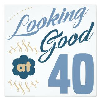 Aniversário de 40 anos que olha bom convite quadrado 13.35 x 13.35cm