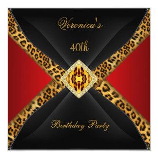 Aniversário de 40 anos vermelho da jóia do convite quadrado 13.35 x 13.35cm