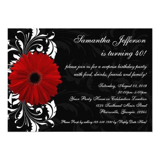 Aniversário de 40 anos vermelho, preto e branco da convite personalizados