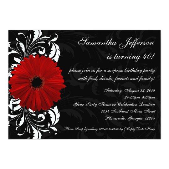 Aniversário de 40 anos vermelho, preto e branco da convite 12.7 x 17.78cm