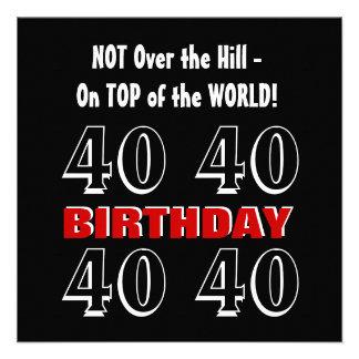 Aniversário de 40 anos W1026 engraçado preto de pr Convite Personalizado