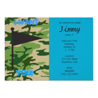 Aniversário de Camo do exército Convite 12.7 X 17.78cm