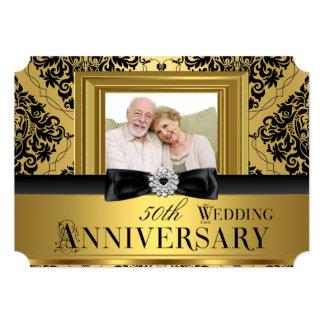 Aniversário de casamento 3 da foto 50th do arco do convite 12.7 x 17.78cm