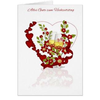 Aniversário de casamento alemão com flores de cartão comemorativo