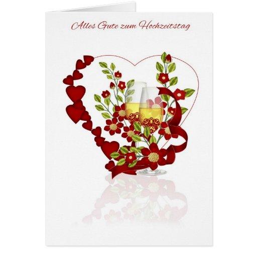 Aniversário de casamento alemão com flores de Cham Cartões