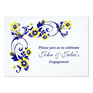 Aniversário de casamento amarelo azul do noivado convite 12.7 x 17.78cm