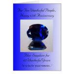 Aniversário de casamento azul da safira 65th cartão