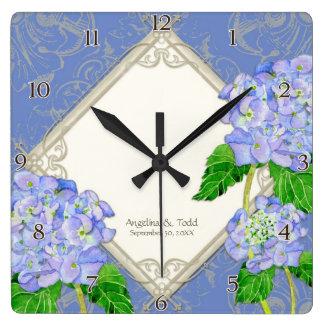 Aniversário de casamento azul do Hydrangea do Relógios De Pendurar