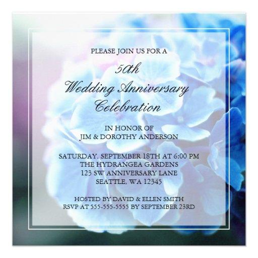 Aniversário de casamento azul roxo do Hydrangea 50 Convites