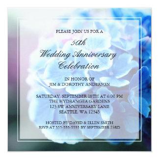Aniversário de casamento azul roxo do Hydrangea Convite Quadrado 13.35 X 13.35cm