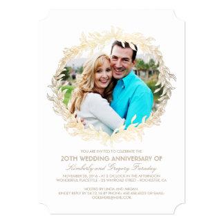 Aniversário de casamento branco da foto da convite 12.7 x 17.78cm