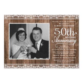 Aniversário de casamento branco rústico do laço & convite 12.7 x 17.78cm