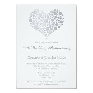 Aniversário de casamento da folha de prata do convite 12.7 x 17.78cm