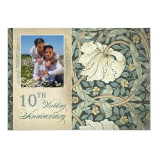 aniversário de casamento da foto 10o convite 12.7 x 17.78cm