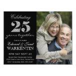 Aniversário de casamento da prata elegante da foto convites personalizados