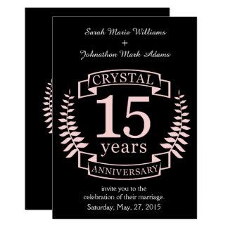 Aniversário de casamento de cristal 15 anos convite 12.7 x 17.78cm