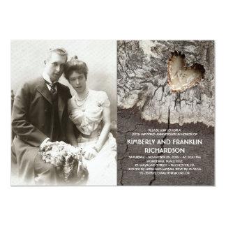 Aniversário de casamento de madeira rústico da convite 12.7 x 17.78cm