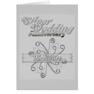 Aniversário de casamento de prata 25 anos cartão comemorativo