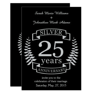 Aniversário de casamento de prata 25 anos convite 12.7 x 17.78cm