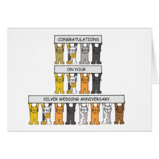 Aniversário de casamento de prata com gatos cartão comemorativo