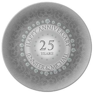 Aniversário de casamento de prata prato de porcelana