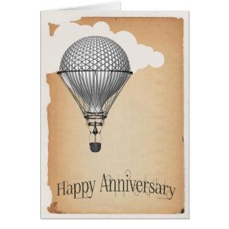 Aniversário de casamento do balão de ar quente de cartão comemorativo