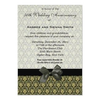 Aniversário de casamento do damasco 50th convite 12.7 x 17.78cm