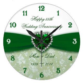 Aniversário de casamento do damasco 55th relógio para parede